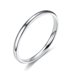 2mm Stainless Steel Silver Gold Rose Gold Black Thin High Polished Wedding Rings