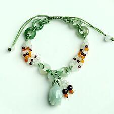 Real 100% Natural A Grade Jade/Jadeite Rose Knitted Chain Bracelet  /Adjustable