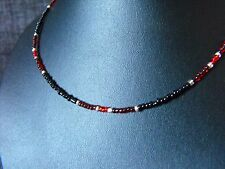 "14-22"" long glass beaded collar choker necklace Black & Red Glass Seed Beads