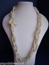New Long Twisted Faux Pearl Necklace - 4 strands & Pearl & Diamante Flower
