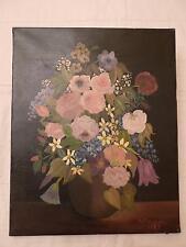 S. MEUNIER 1987 Fleurs  Toile sur chassis bois