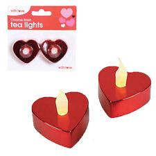 LED Battery Tea Lights 2 Pack Red Heart Shape Chrome Finish