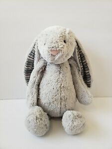 Jellycat Bashful Blake Gray Rabbit Plush Bunny Striped Ears Lovey Rare - 16""