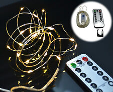 Indoor White Micro LED Fairy Lights USB Powered Timer Twinkle Remote Control