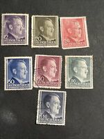 1941-1942 WWII GERMANY POLAND HITLER General Government 7 Stamps