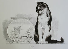 Robert Kuhn Vintage 1967 Original Art Print Charcoal Calico Cat Gold Fish Bowl