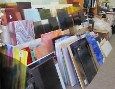 """PACK STAINED GLASS sheets 4"""" X 8"""" FIFTEEN pieces mixed colors/textures"""