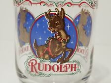 Vintage Rudolph the Red Nosed Reindeer Drink Glasses Christmas Tumblers Set of 4