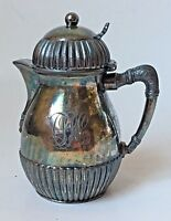 Antique Wilcox Creamer Syrup Quadruple Silverplate Hinged Lid w Monogram c. 1878
