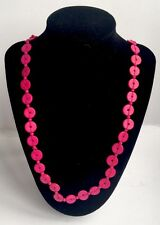 Hot Pink Wooden / Wood Retro Button Style Long Single Strand Beaded Necklace