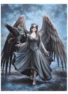 Raven Canvas Plaque By Anne Stokes Size 19X25 Cm
