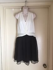 Greylin Women's Julie Silk Twist Front Twofer Dress Ivory & Black Size L NWT