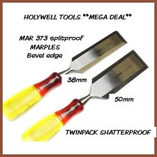 IRWIN marples splitproof bevel edged wood chisels twinpack m373  50mm +38mm