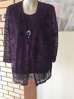 Womens Dark Purple Designed Top Sz L Evening Party Elegant Brand