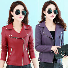 2018 Slim leather jacket women's fashion oblique zipper motorcycle jacket coat