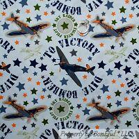 BonEful Fabric FQ Cotton Quilt Blue Boy Military Air*Plane Force Green Camo Star