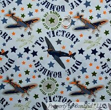 BonEful Fabric FQ Cotton Quilt Blue Boy Military Air*Plane Force Green Camo Star