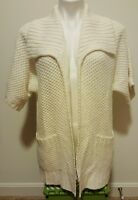 Chico's White Open Front w/ Pockets Collared Short Sleeve Knit Cardigan Size 1