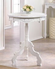 White whitewashed Wood Round Shabby baroque pedestal End accent Table bedside