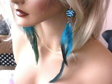 """Long Blue Feather Earrings Shoulder Duster Chains feathered  6"""""""