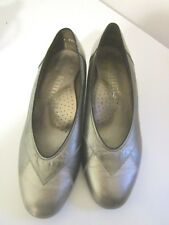 KUMFS Ladies Pewter Leather Shoes - Size7.5 -8  - 3cm low heal