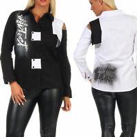 Damen Bluse Hemdbluse Vokuhila Longbluse Print Schwarz Weiß S  M L XL