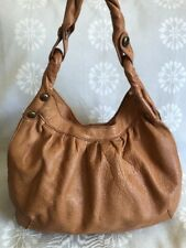 LUCKY BRAND Large BROWN TAN SLOUCHY STUD Leather HOBO Shoulder Bag Handbag