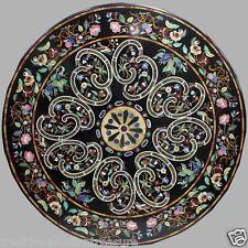5'x5' Black Dining Table Marble Top Pietradure Decor Italian Art Christmas Gift