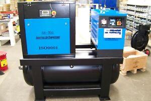 Air-Max 10hp.1ph Rotary Screw Compressor W/dryer/filters/120 tan 12 Year warrant