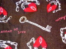 Prisoner Of Love Pajama Pants Lounge XL Red Hearts Chains Keys Dark Brown PJs