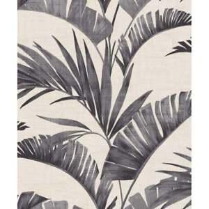 Arthouse Tropical Banana Leaf Palm Tree Charcoal Wallpaper 610601
