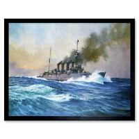Parkes HMS Southampton Battle Jutland War Ship Painting Art Print Framed 12x16