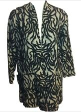 New Tagged Zara Swirl Pattern Open Style Sweater Coat Size Medium Beige Black LE
