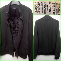 M&S BLUE HARBOUR UK XXL MEN`S CHARCOAL KNIT FAUX FUR LINING ZIP UP JACKET #14