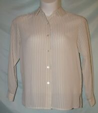 Josephine Chaus Multi-Color Ivory Pinstripe Polyester Button Cuff Shirt Size 8