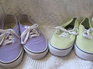 2 Pair Vans Skateboard Sneakers Size 8.5 Womens Lime & Lavender
