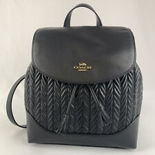 NWT COACH Quilted Leather Elle Backpack Purse Rucksack F72842 Black