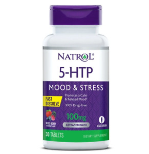Natrol 5-HTP 100mg 30 Fast Dissolve Tablets Mixed Berry Calm Stress Relaxed Mood