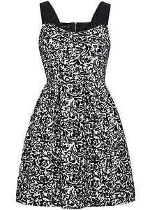 B16096965 Damen Violet kurz Kleid Florales Muster RV hinten schwarz weiß
