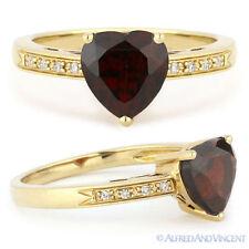 1.71ct Heart-Shape Garnet & Round Cut Diamond Engagement Ring in 14k Yellow Gold