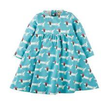 Frugi Girl's Organic Cotton Tess Twirly Dress in Beret Dog Print for 2-3 Years