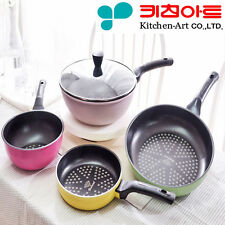[Kitchen Art] Premium Frying pan Diamond coating Nonstick Cookware Lid 4set A