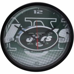 """New York Jets 12"""" Round Wall Office Clock Black  NFL Football High Definition"""