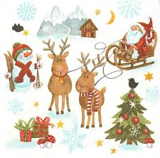 Lot de 2 Serviettes en papier Père Noël Traîneau Decoupage Collage Decopatch