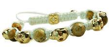Men's Womens Crystal Agate Beaded Shamballa Gold Skull Bracelet White Cord  NEW