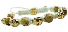 Men's Womens Crystal Agate Beaded Shamballa Gold Skull Bracelet White Cord  NEW