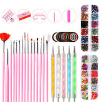 Nail Art Accessories Kit Pen Dotting Tools Brushes Decoration Rhinestones Set