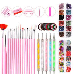 Nail Art Accessories Kit Pen Dotting Tools Brushes Decoration Rhinestones Set