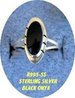 LIQUIDATION - STERLING SILVER RING with OVAL BLACK ONYX STONE INLAY (R995-SS)