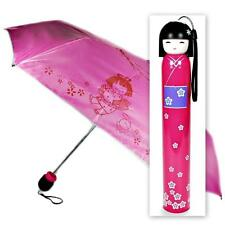 KOKESHI DOLL UMBRELLA Pink Folding w Hard Case Geisha Girl Japanese Lady China
